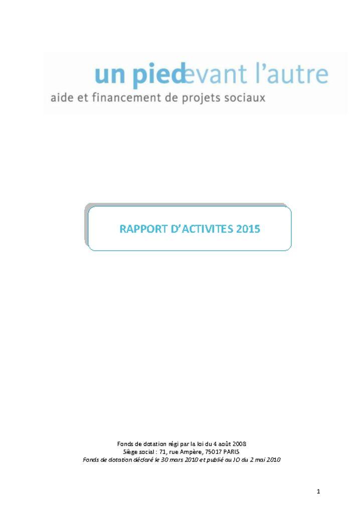 thumbnail of Un Pied Devant l'Autre – Rapport d activité 2015