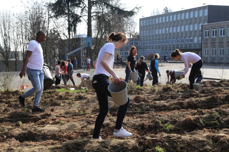 les bénévoles en action au collège Pierre Mendès France